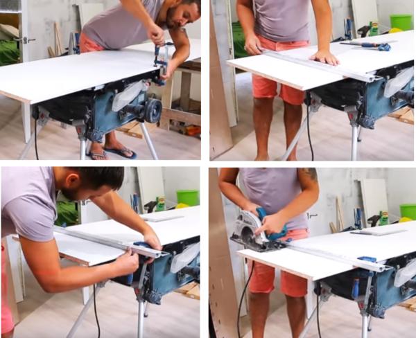 Чтобы облегчить раскрой деталей, плиту фиксируют струбцинами