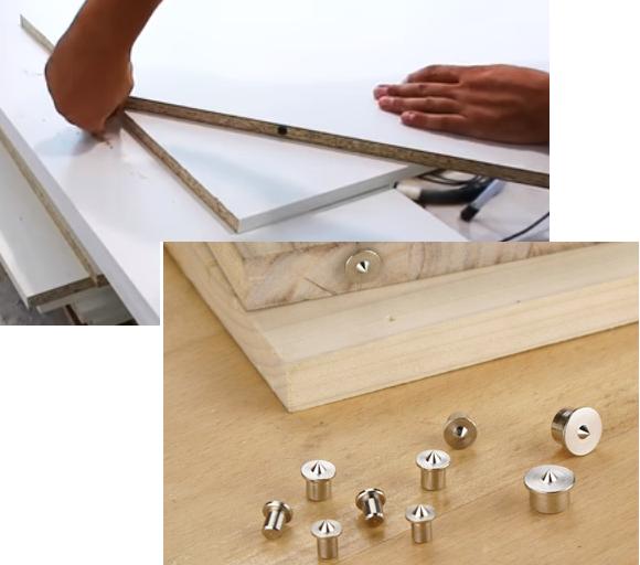 Для разметки используют специальные мебельные наколки-центровки