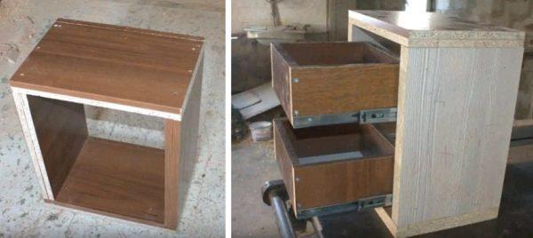 Тумба простой формы, с двумя выдвижными ящиками, изготовлена из ДСП