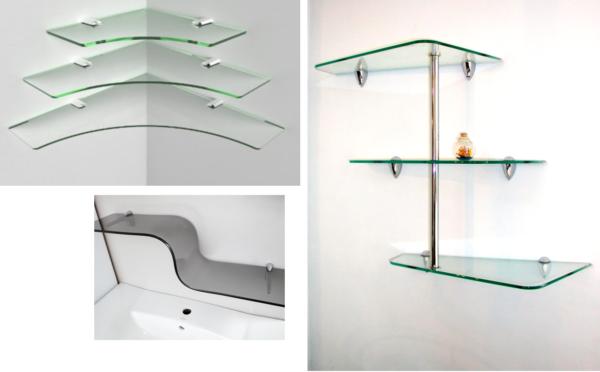 Дизайн стеклянных полок не влияет на выбор креплений