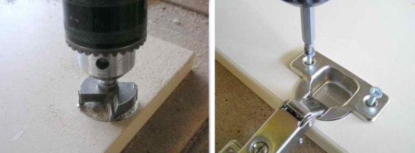 Завершающий этап сборки - установка петель на дверцу