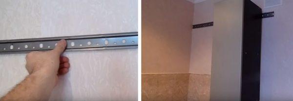 С помощью дюбелей фиксируют планку к стене и подвешивают шкаф