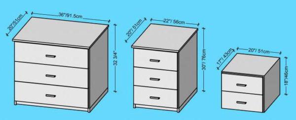 Стандартные размеры прикроватных тумбочек