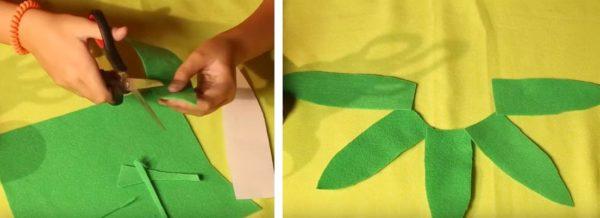 Вырезают пять одинаковых листиков