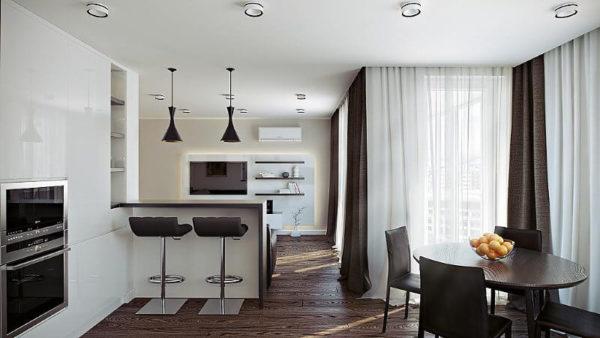 Барные стойки очень популярны в квартирах-студиях
