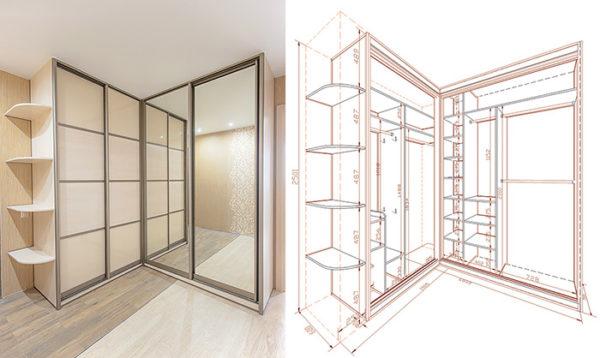 Чертеж углового шкафа с размерами
