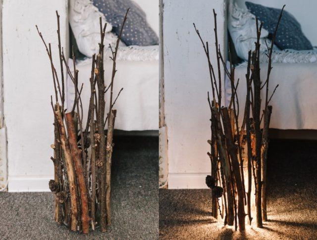 Декор светильника шишками