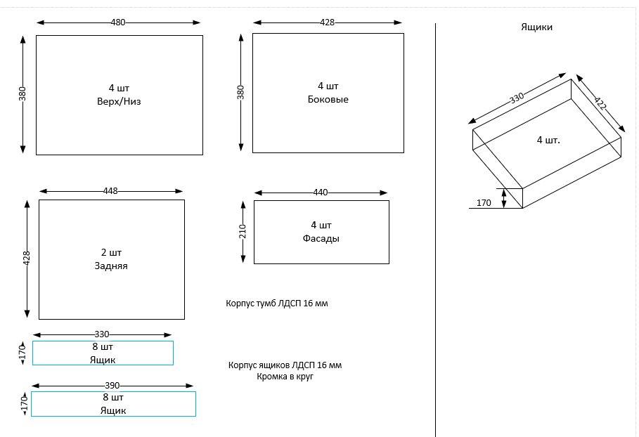 Чем детальнее чертеж, тем проще рассчитать количество материалов для тумбочки