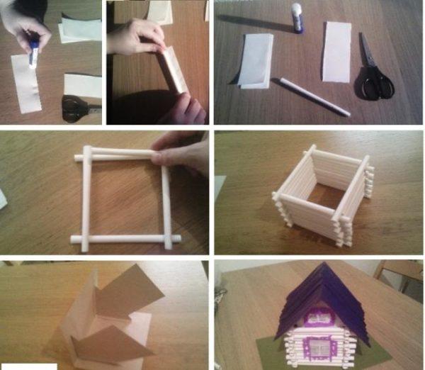 Этапы изготовления домика из бумажных трубочек