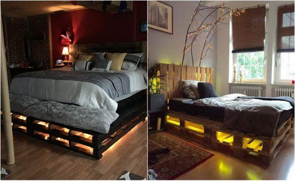 Кровати из паллет с подсветкой