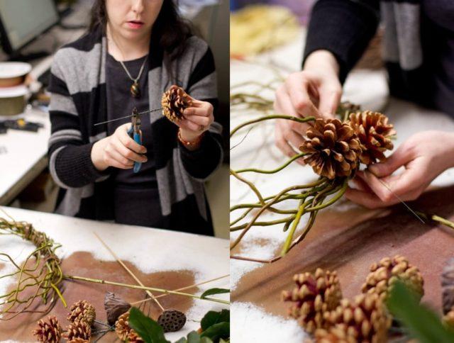Подготовка и крепление шишек