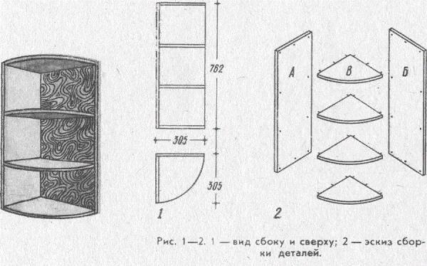 Подробная схема изготовления угловой полки