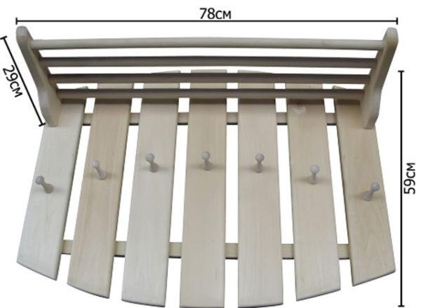 Пример вешалки для бани с размерами