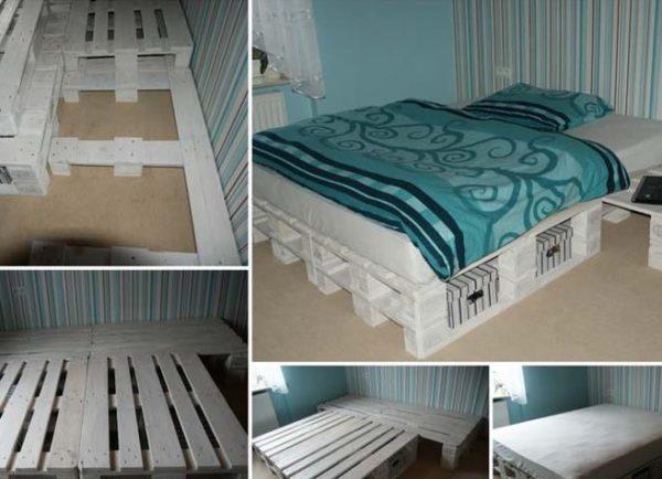 Простая конструкция кровати из поддонов