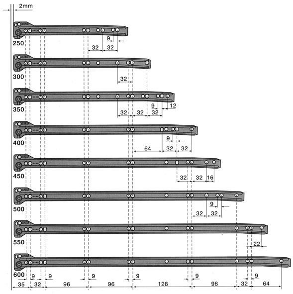 Размеры роликовых направляющих зависят от конкретного ящика и рассчитываются по определенной схеме