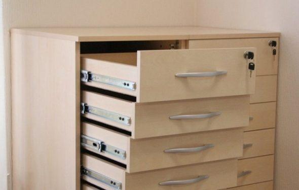 Шариковые направляющие широко используются для различных комодов и шкафов
