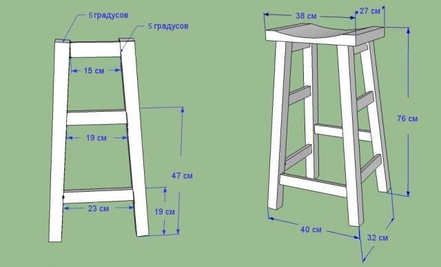 Схема деревянного барного стула с размерами
