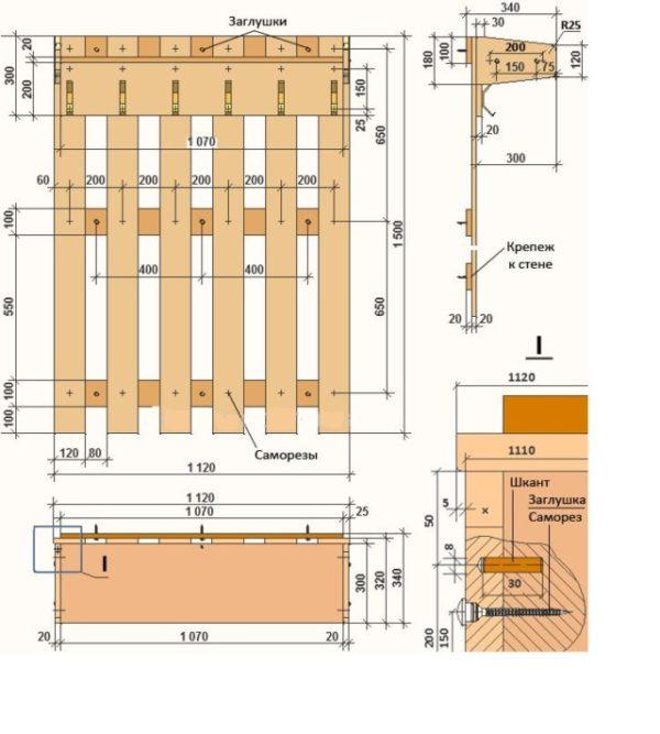 Схема простой деревянной вешалки