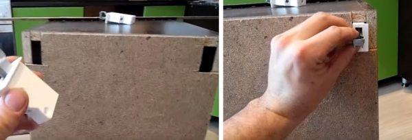 Для подвесов вырезают отверстия в задней стенке модуля