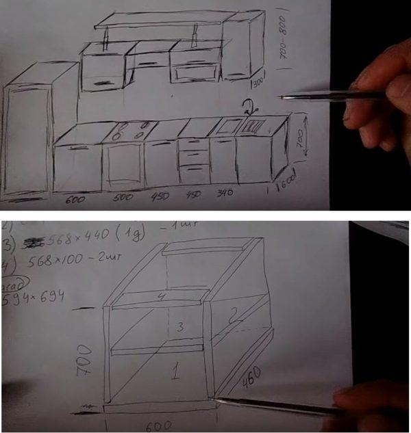 Делают общий эскиз гарнитура и каждого блока в отдельности