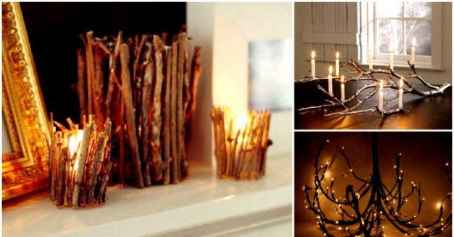 Сочетание веток и свеч