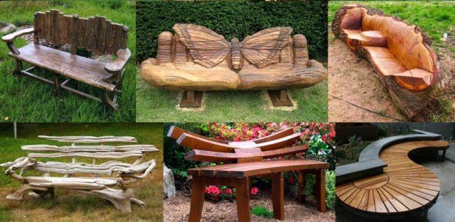 Варианты деревянных лавочек