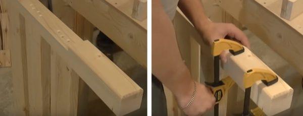 С внешней стороны к ножкам приклеивают накладки из дерева