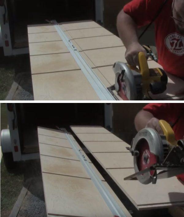 Разрезают плиту на две части
