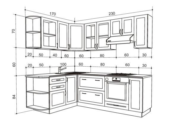 Основные параметры кухонного гарнитура