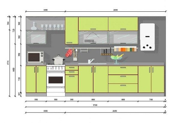 Линейная кухня: чертеж