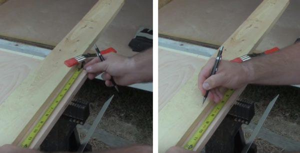На заготовках размечают расположение дверных петель