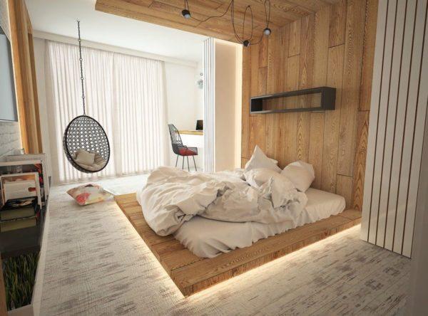 Такая кровать смотрится оригинально и отлично вписывается в современные интерьеры