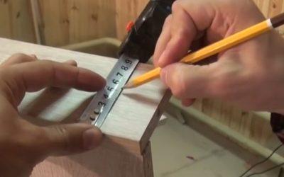 Разметка на ящике под направляющую