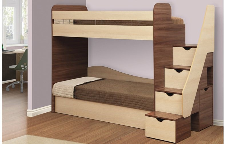 Пример кровати с безопасной лестницей, под ступеньками которой находятся ящики для хранения