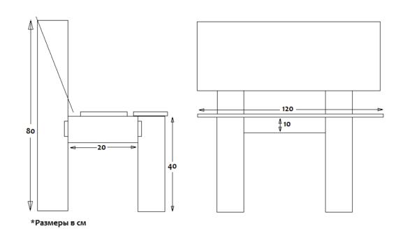 Примерная схема скамейки