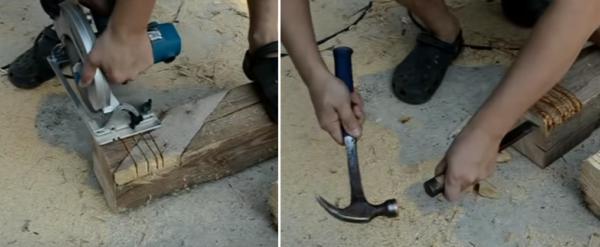 Нарезка насечек и удаление древесины