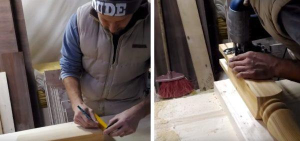 В нижней части балясины делают вырезы под крестовину