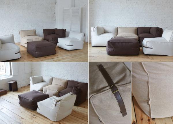 Бескаркасный модульный диван с декоративными ремешками из кожи