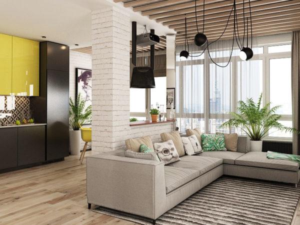 Большие угловые диваны в студиях являются заменой креслам