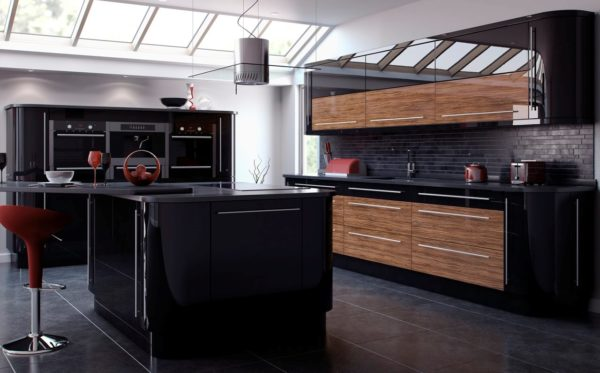 Черно-коричневая кухня