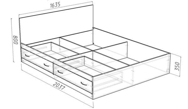 Чертеж кровати с выдвижными ящиками