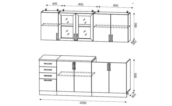 Чертеж стандартной корпусной мебели