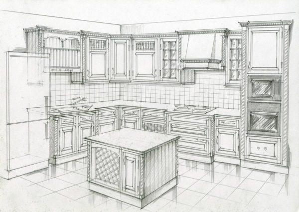 Далее составляется проект будущей кухни