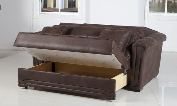 Диван-аккордеон с ящиком для белья - отличный вариант для использования в небольших квартирах или отдельно взятых комнатах