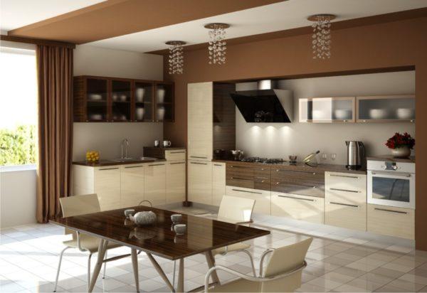 Дизайн коричневой с бежевым кухни в стиле хай-тек
