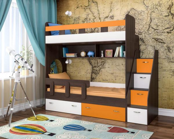 Двухъярусная кровать будет оригинальным дизайнерским решением