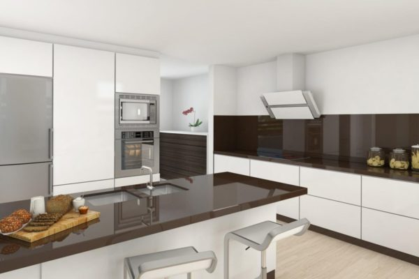 Эксклюзивный и уравновешенный бело-коричневый дизайн кухни
