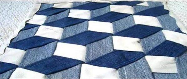 Готовое одеяло будет иметь такой необычный узор