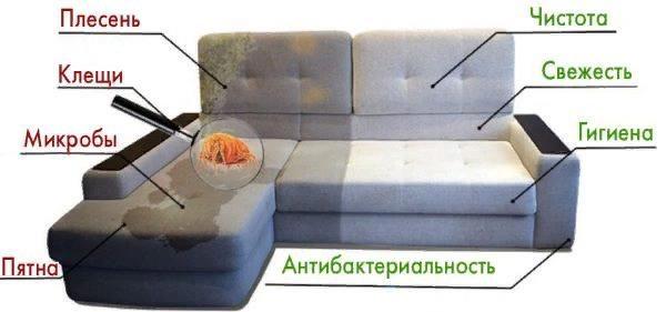 Грязная мягкая мебель является лучшей средой для размножения бактерий, что влечет за собой опасность для взрослых людей и тем более детей