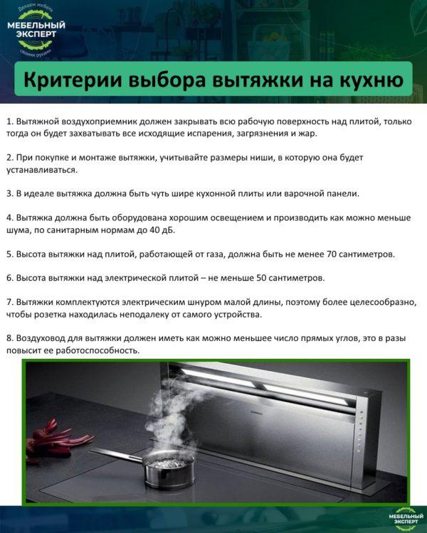 Критерии выбора вытяжки на кухню